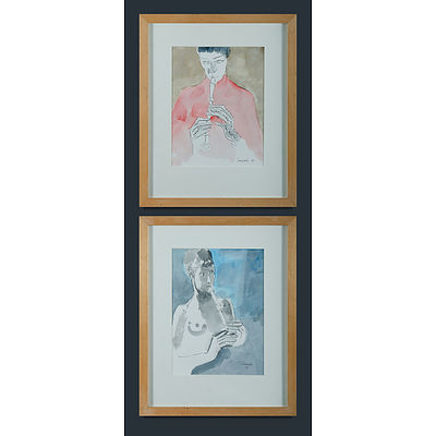 CASSAB, Judy (1920-2015) Recorder Players, 1997(2) Ink & Watercolour (2)