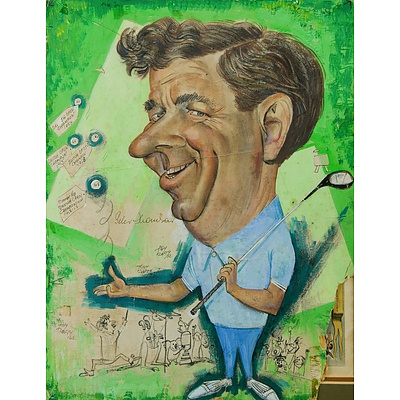 RAFTY, Tony (1915-2015): Golfer, Peter Thompson Caricature Portrait, 1962. Gouache