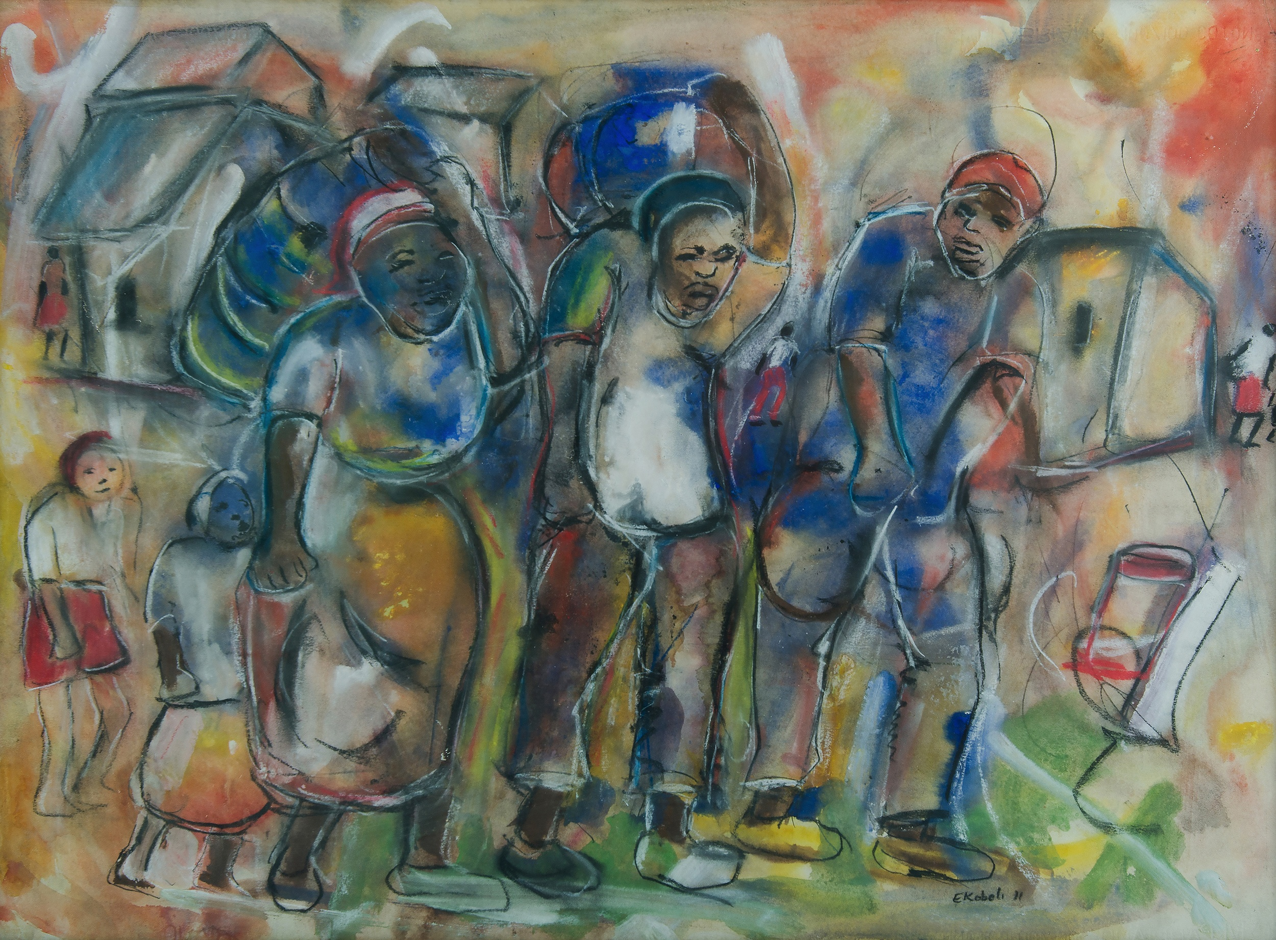 'KOBELI, Eli (South African 1932-1999): Village Scene, 1971 Mixed Media on Paper'
