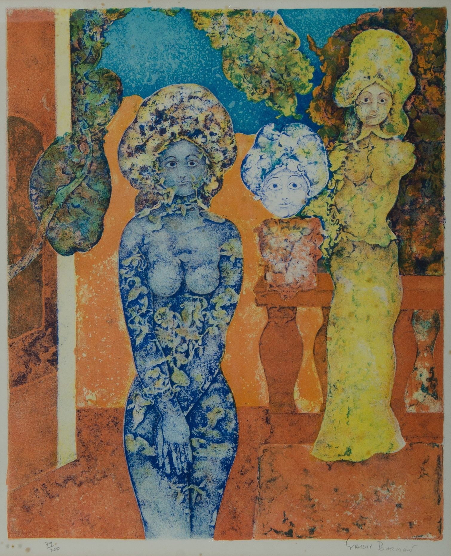 'Sakti BURMAN (Indian b.1935) Untitled, Lithograph 99/200 '