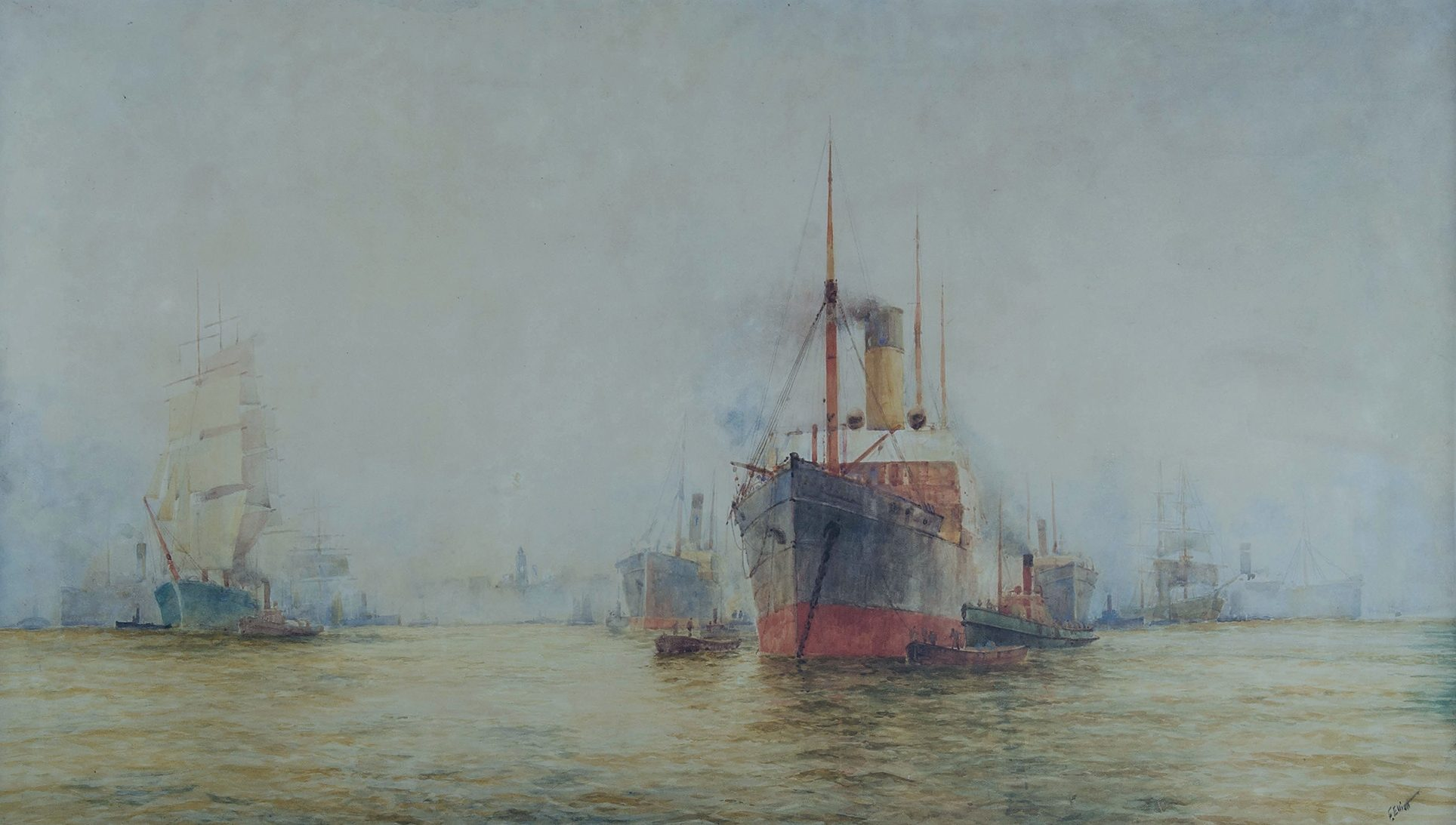 'ELLIOTT, Frederick (1864-1949): Sails & Steam, Sydney Harbour. Watercolour'