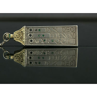 HMSS Emerald Set Pocket Saxon Sun-Dial. HM London 1975, maker GF. Emerald set tablet. Missing gnomon. Sterling Silver