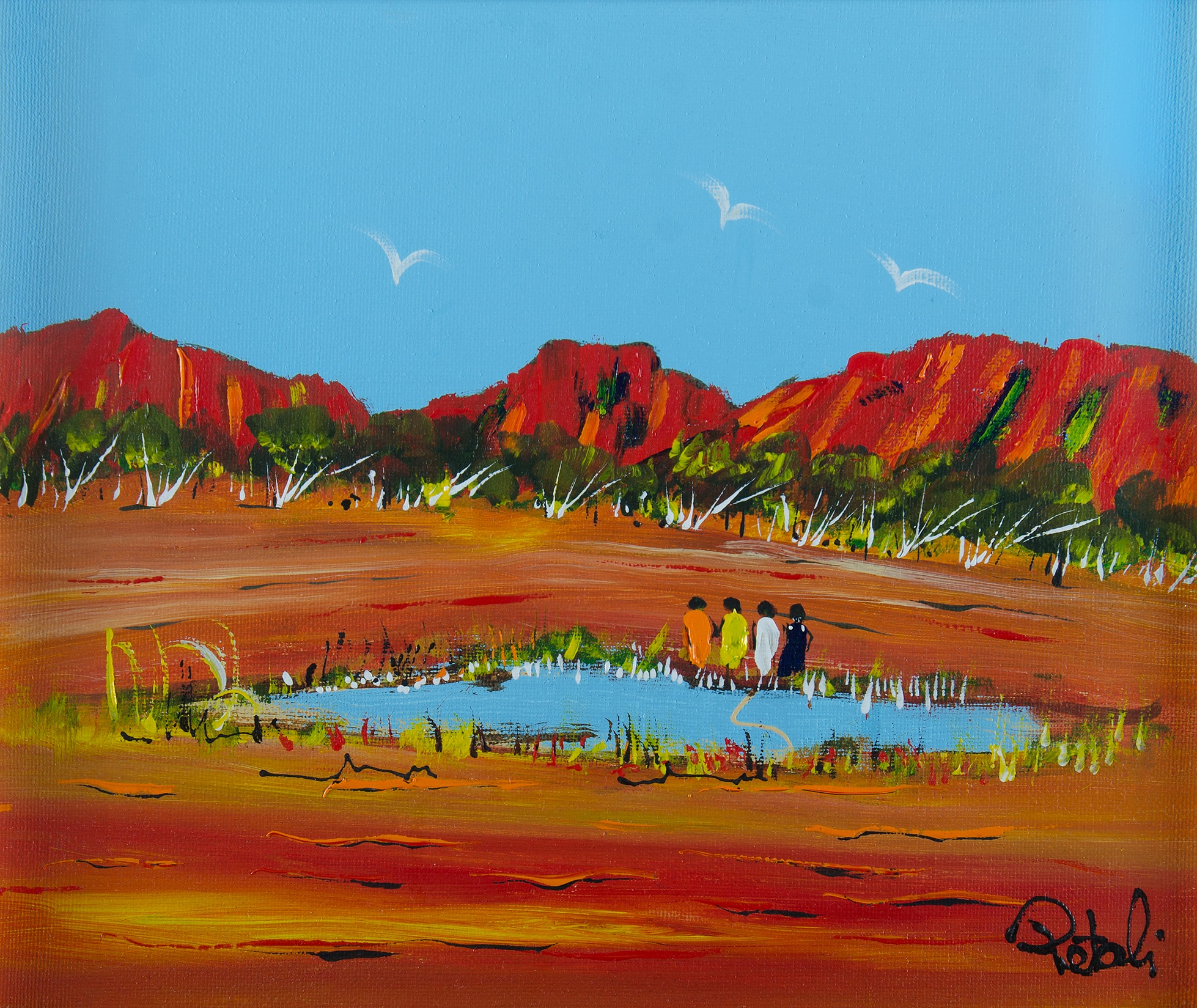 'PETALI, Nick (1932-2014): Four Women at Waterhole Acrylic on Canvas'