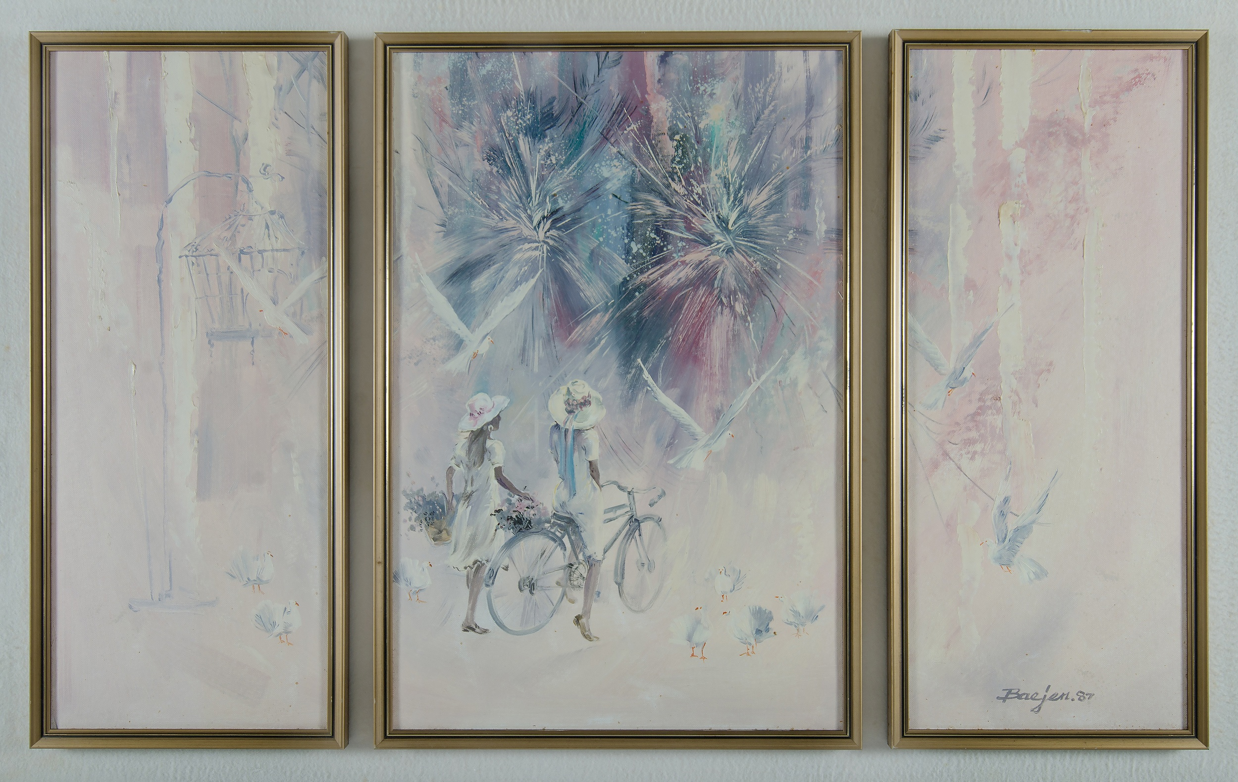'BAEJEN: Fantasy in the Park, 1987 Oil on Canvas Board Triptych'