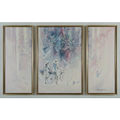 BAEJEN: 'Fantasy in the Park,' 1987 Oil on Canvas Board Triptych