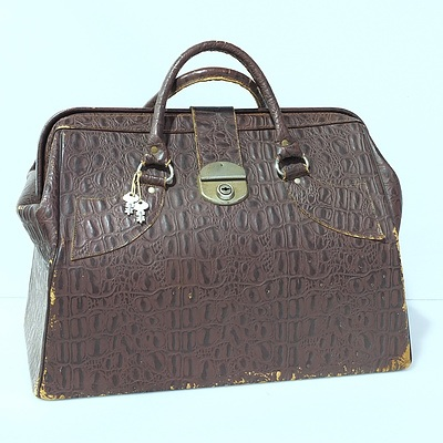 Vintage Crocodile Leather Doctors Bag