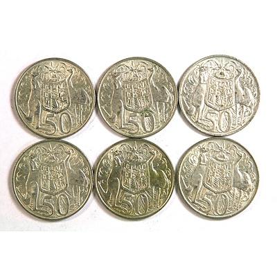 Six 1966 Round Australian Silver 50 Cent Coins