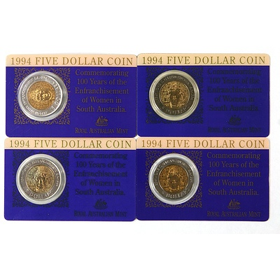 Four 1992 Dollar Coins 100 Years of Enfranchisement of Women in SA