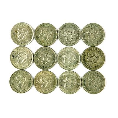 Twelve post-1945 Australian Silver Shillings