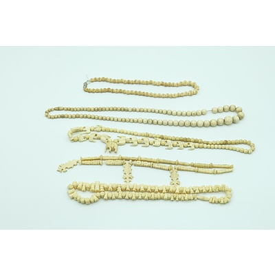 Group of Ivory and Bone Necklaces