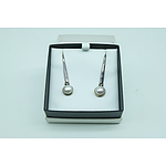 Sterling Silver and Half Cultured Pearl Drop Earrings