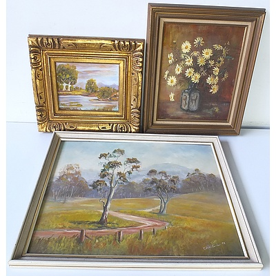Three Oil on Boards, Including Elva Black 'Marguerite Daisies', and M.B Landscape