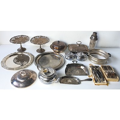 Collection of Silver Plated Cake Stands, Cocktail Shaker, Cutlery, Butter Dish and More