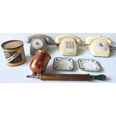 Three Vintage Telephones, Copper and Brass Sprayers, Half and Half Tobacco Tin, and Side Dishes