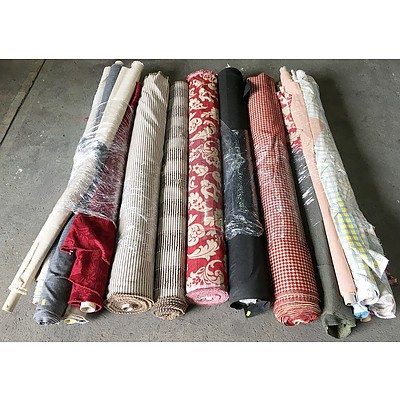 Large Assortment of Upholstery Fabric Rolls