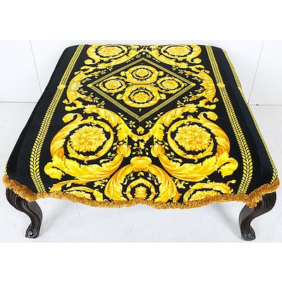 Versace Inspired Black and Gold Fabric Upholstered Stool