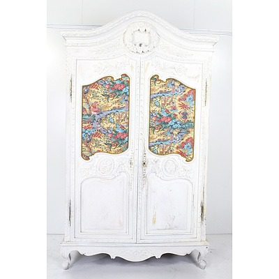 French Style Carved and Painted Armoire