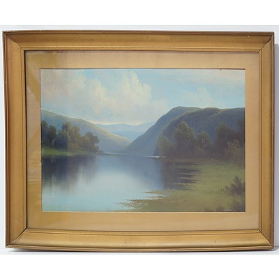 Lake View With Rolling Hills Antique Oil Board