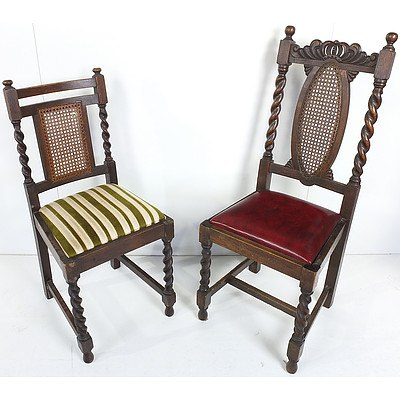 English Oak Jacobean Revival Dining Chairs Circa 1920s