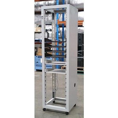 Grey Floor-Standing Wheeled Server Cabinet w/ Shelving