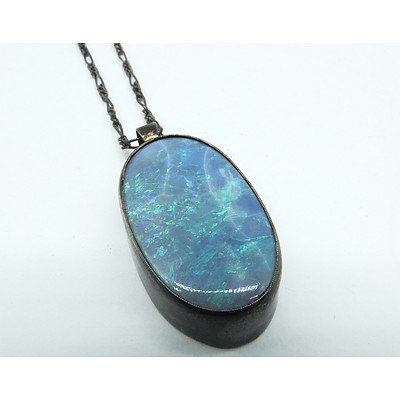 Sterling Silver and Solid Blue Green Opal Pendant
