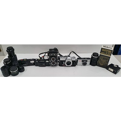 Vintage Cameras, Lenses and Flashes - Lot of 14