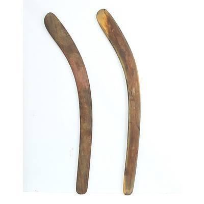 Two Vintage Aboriginal Boomerangs One Incised