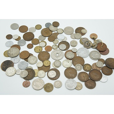 Group of Various Collectable Coins Including 1942 American Half Dollar, 1912 Six Pence Coin and More