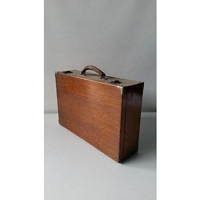 Vintage Maple Metal-Bound Suitcase