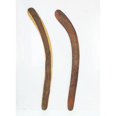 Two Vintage Aboriginal Boomerangs