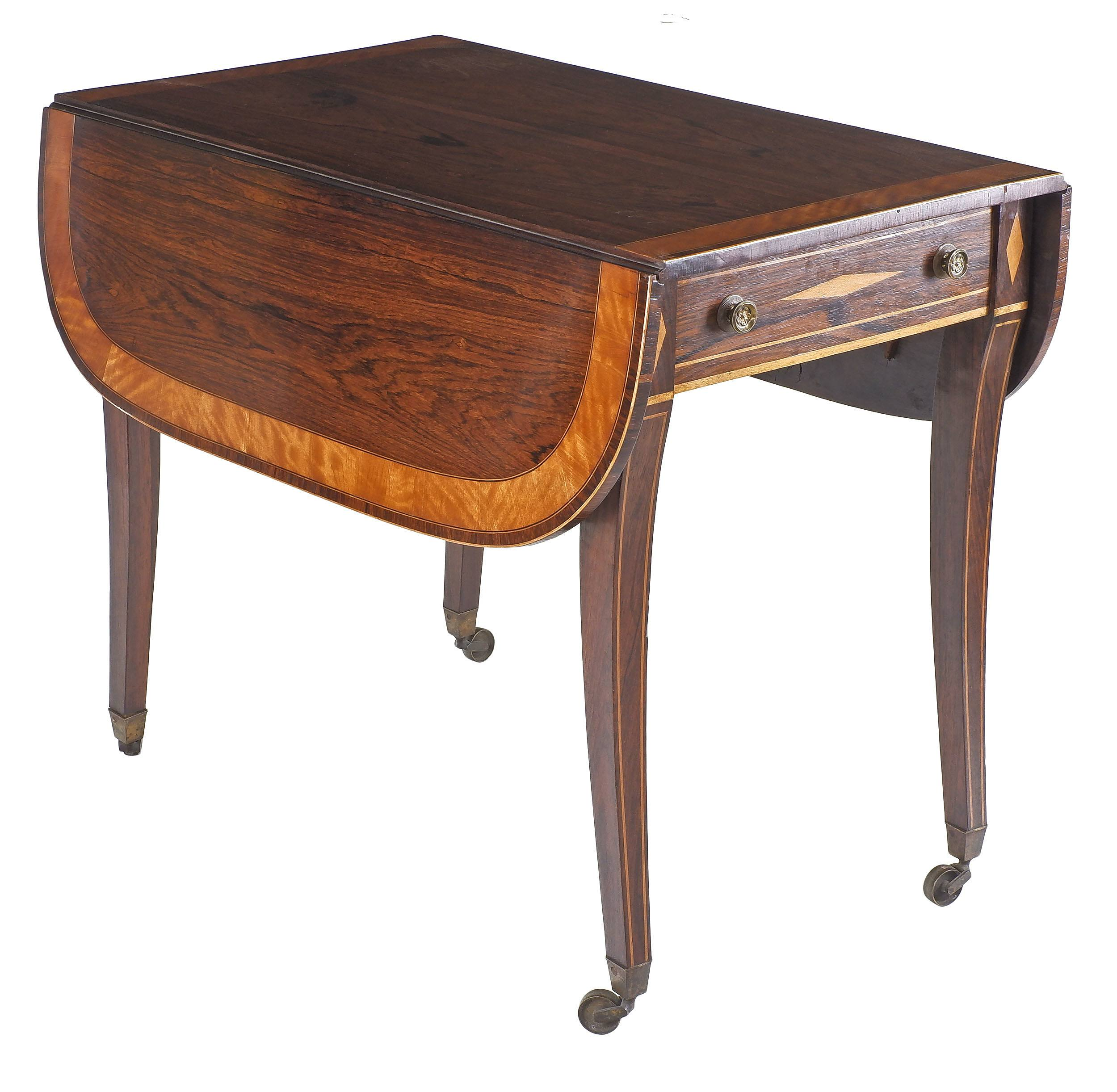 'Fine Regency Brazilian Rosewood Pembroke Table with Satinwood Crossbanding and String Inlay of Ebony and Boxwood Circa 1820'