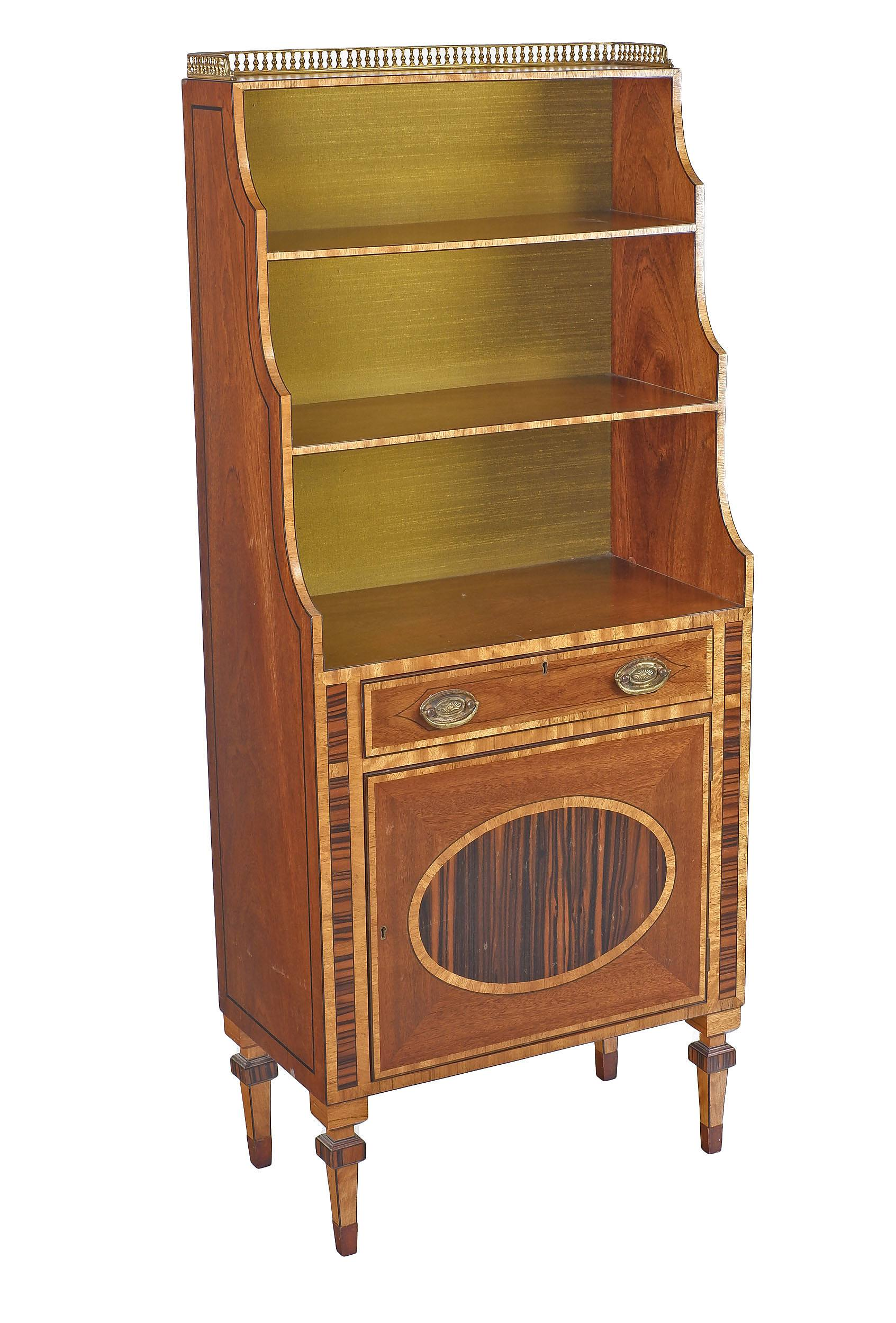 'Reproduction Sheraton Style Mahogany Dwarf Bookcase with Macassar Ebony Veneering and Pierced Brass Gallery Mid to Late 20th Century'