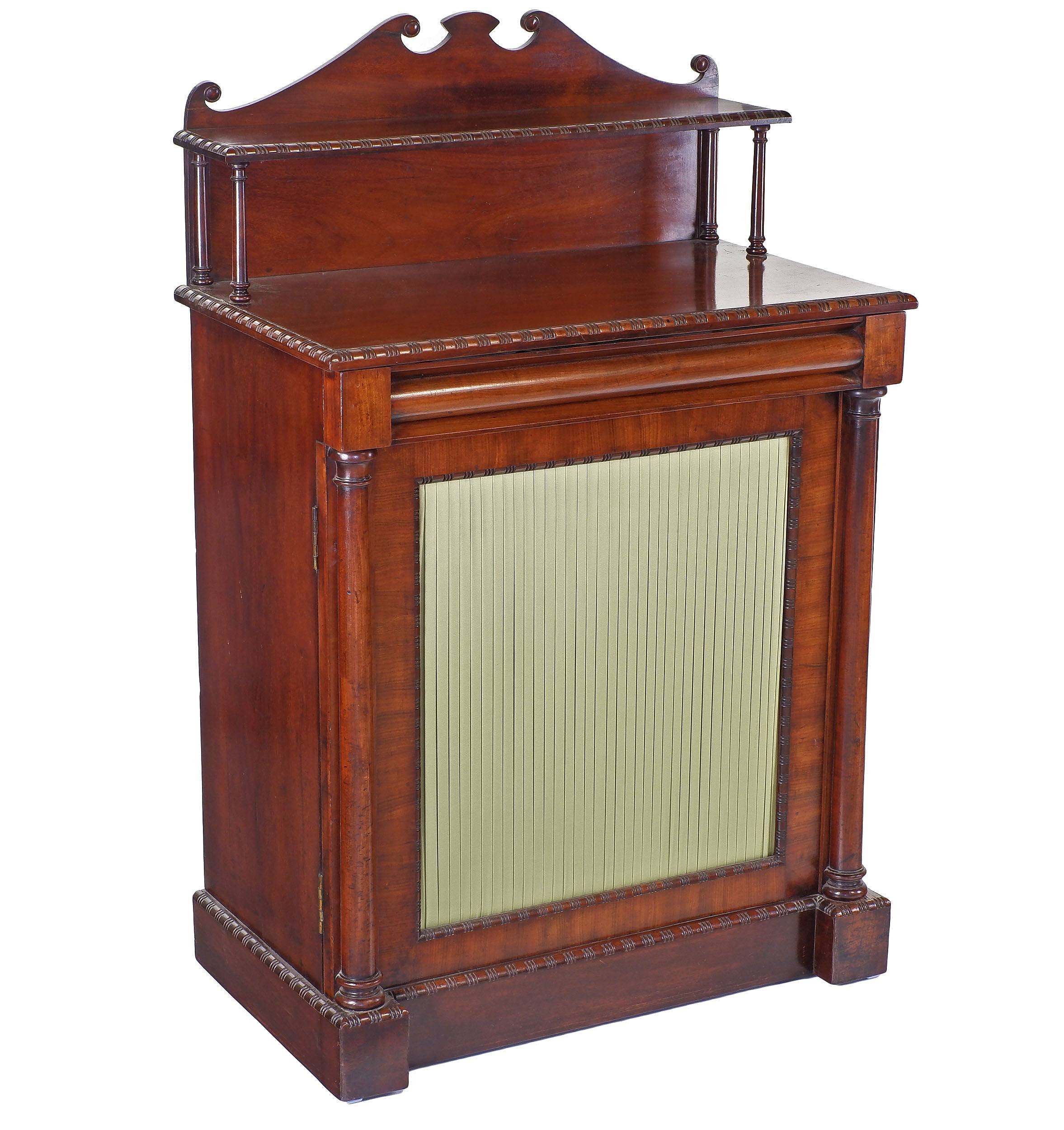 'William IV Mahogany Music Cabinet with Pleated Curtain Door Circa 1835'