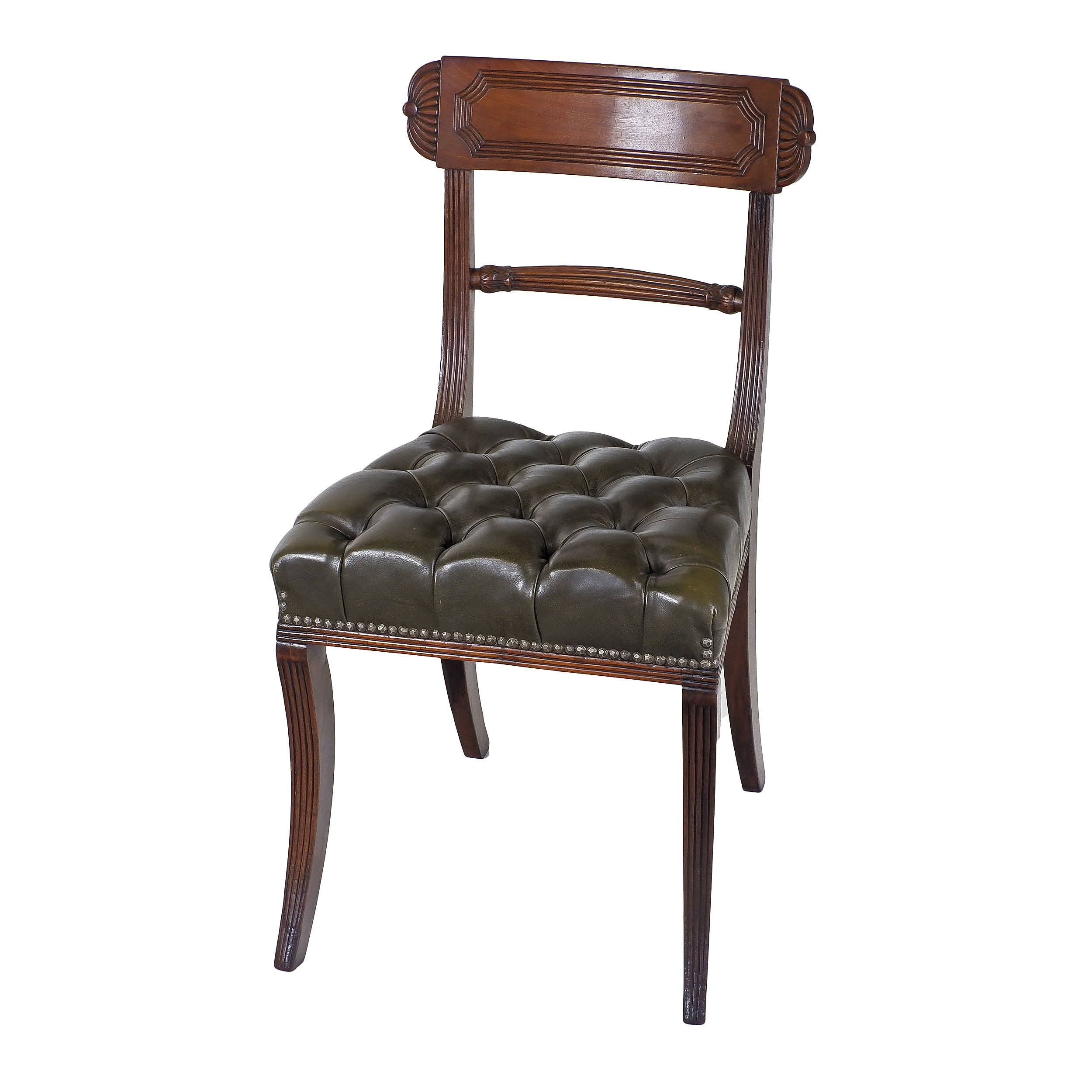 'Regency Mahogany Dining Chair with Reeded Sabre Legs and Diamond Buttoned Leather Upholstery Circa 1820'