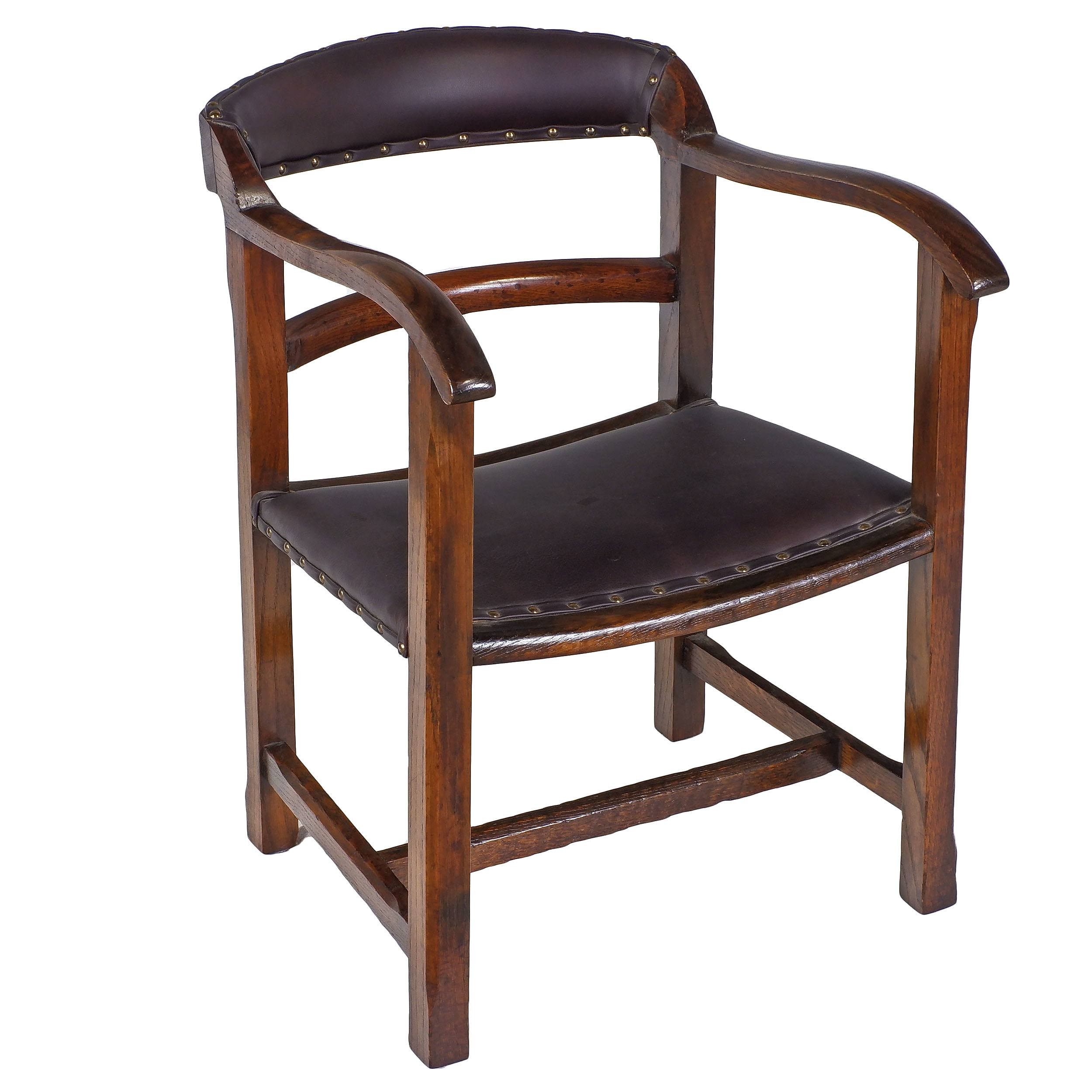 'Oak Captains Desk Chair 2nd Quarter 20th Century'