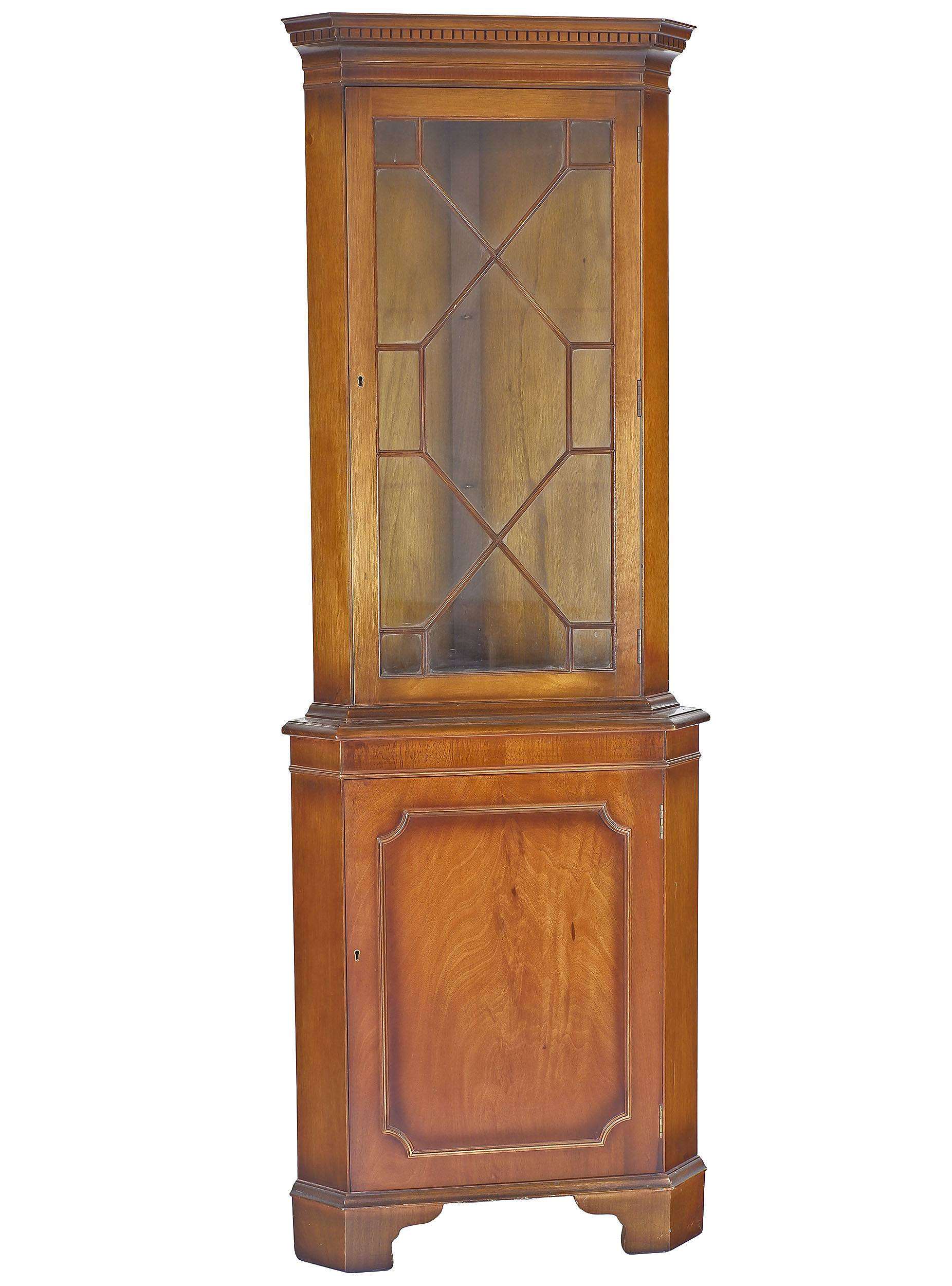 'Reproduction Georgian Style Mahogany Corner Cabinet Late 20th Century'