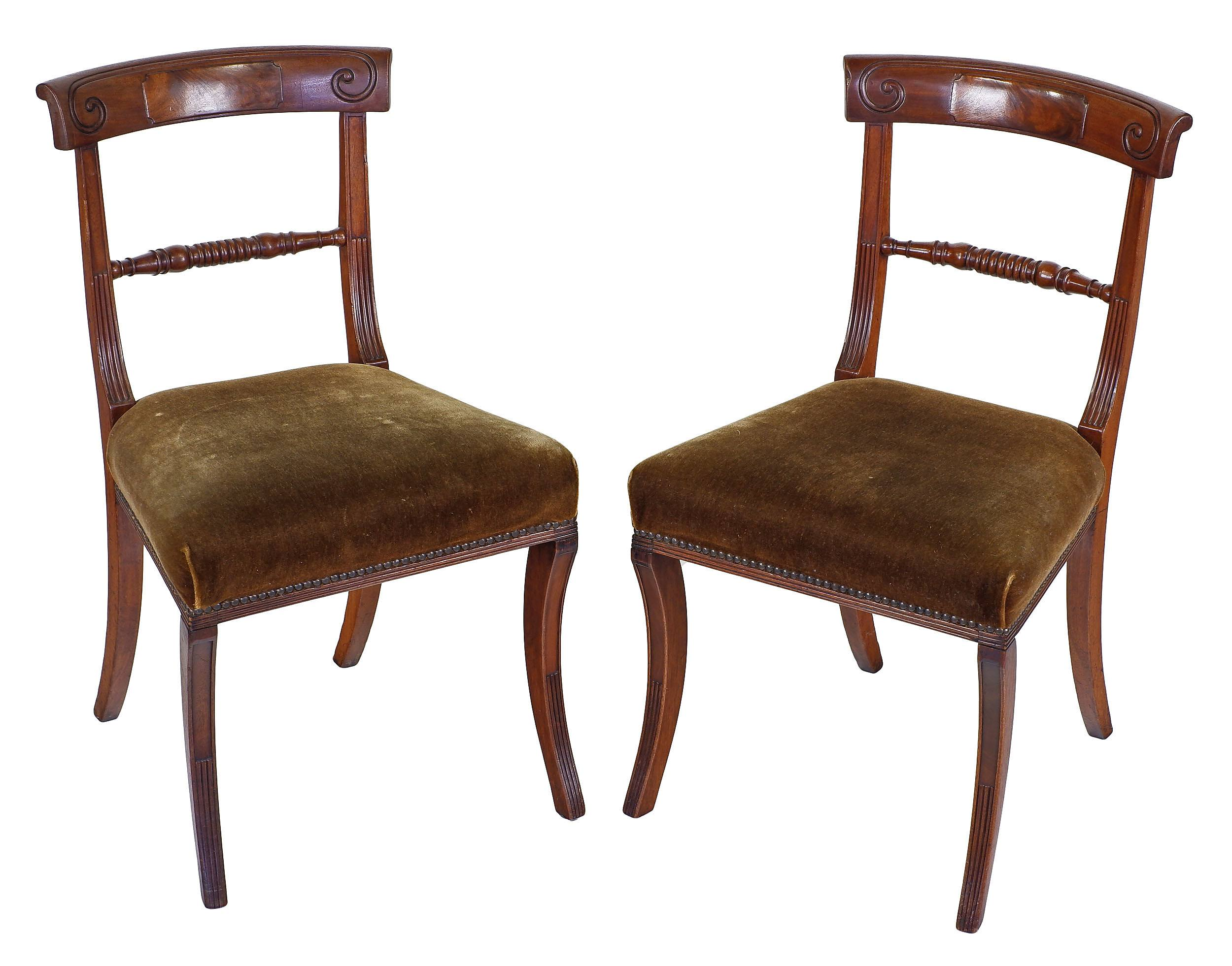 'Pair Of Regency Mahogany Dining Chairs with Olive Green Velvet Upholstery Circa 1820'