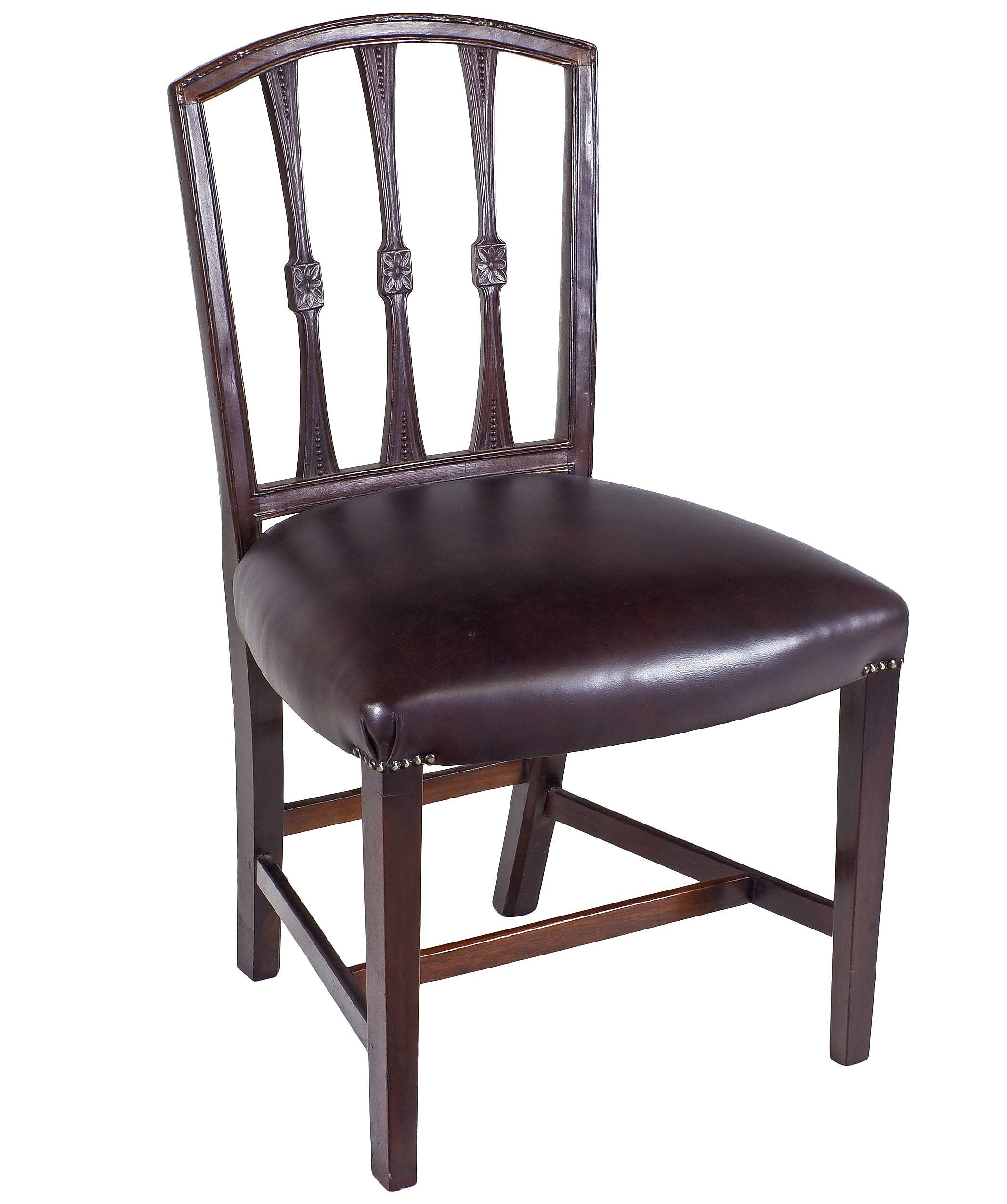 'Hepplewhite Influenced Mahogany Dining Chair 19th Century'