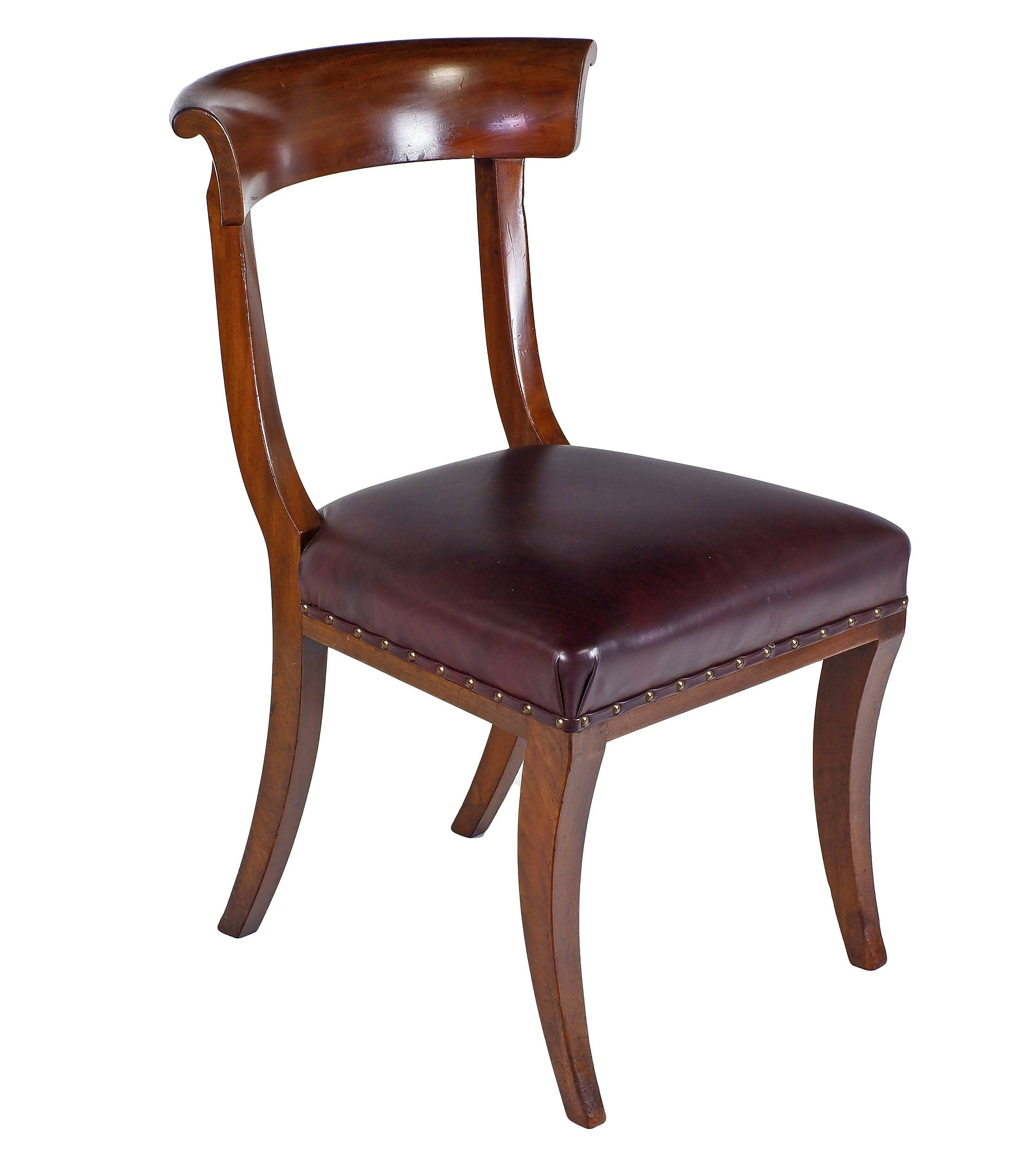 'Good Set Of Seven Regency Sabre Leg Mahogany Dining Chairs in the Classical Klismos Style Circa 1820'