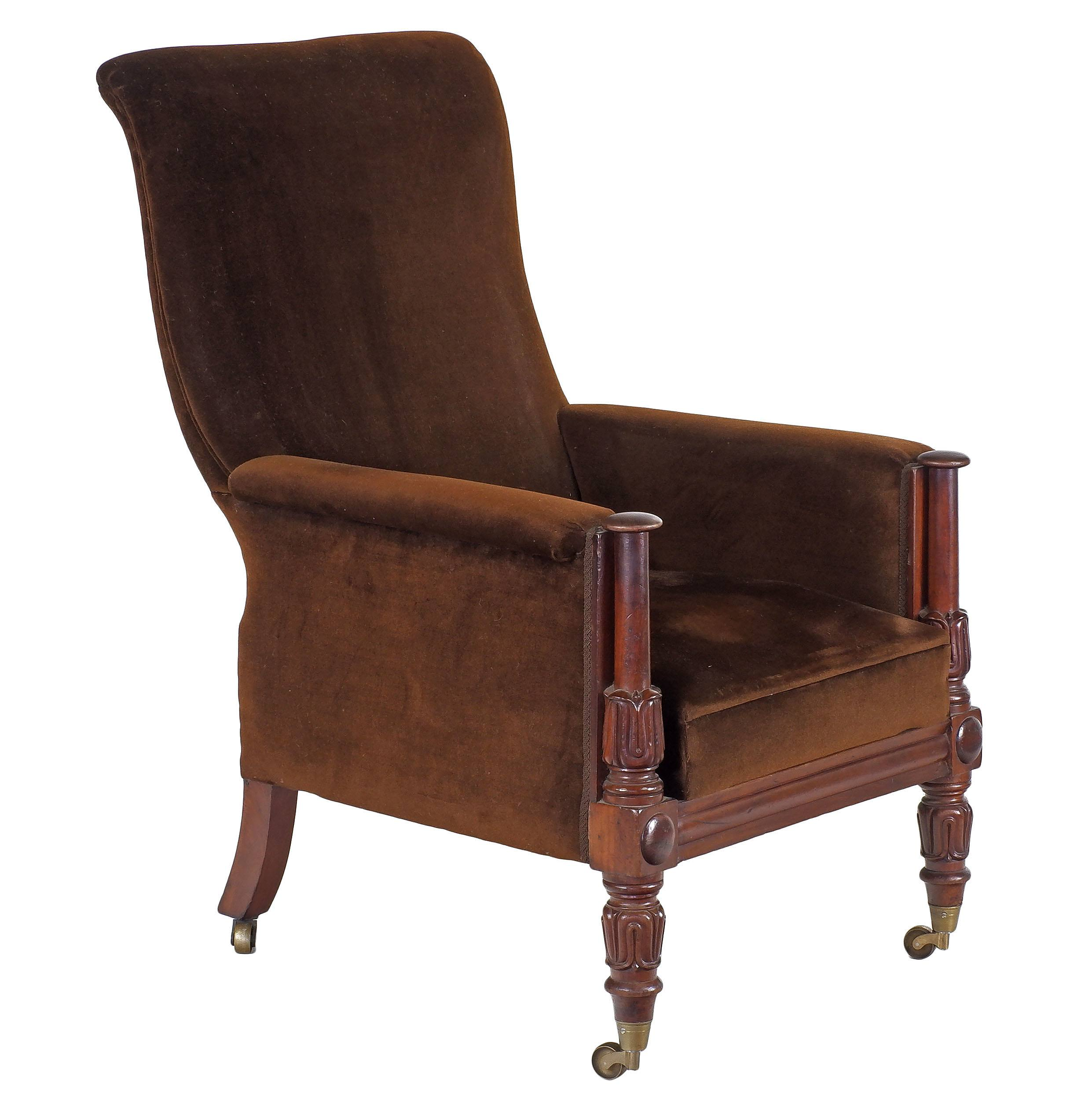 'William IV or Early Victorian Mahogany Upholstered Library Chair Circa 1835-40'