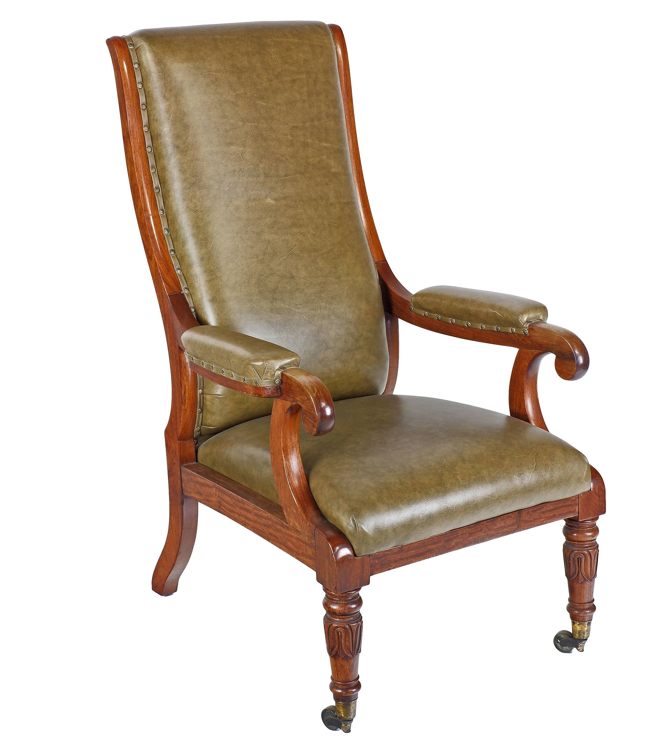 'William IV Padouk (Rosewood) High Back Upholstered Library Chair with Olive Green Leather Upholstery Circa 1835'