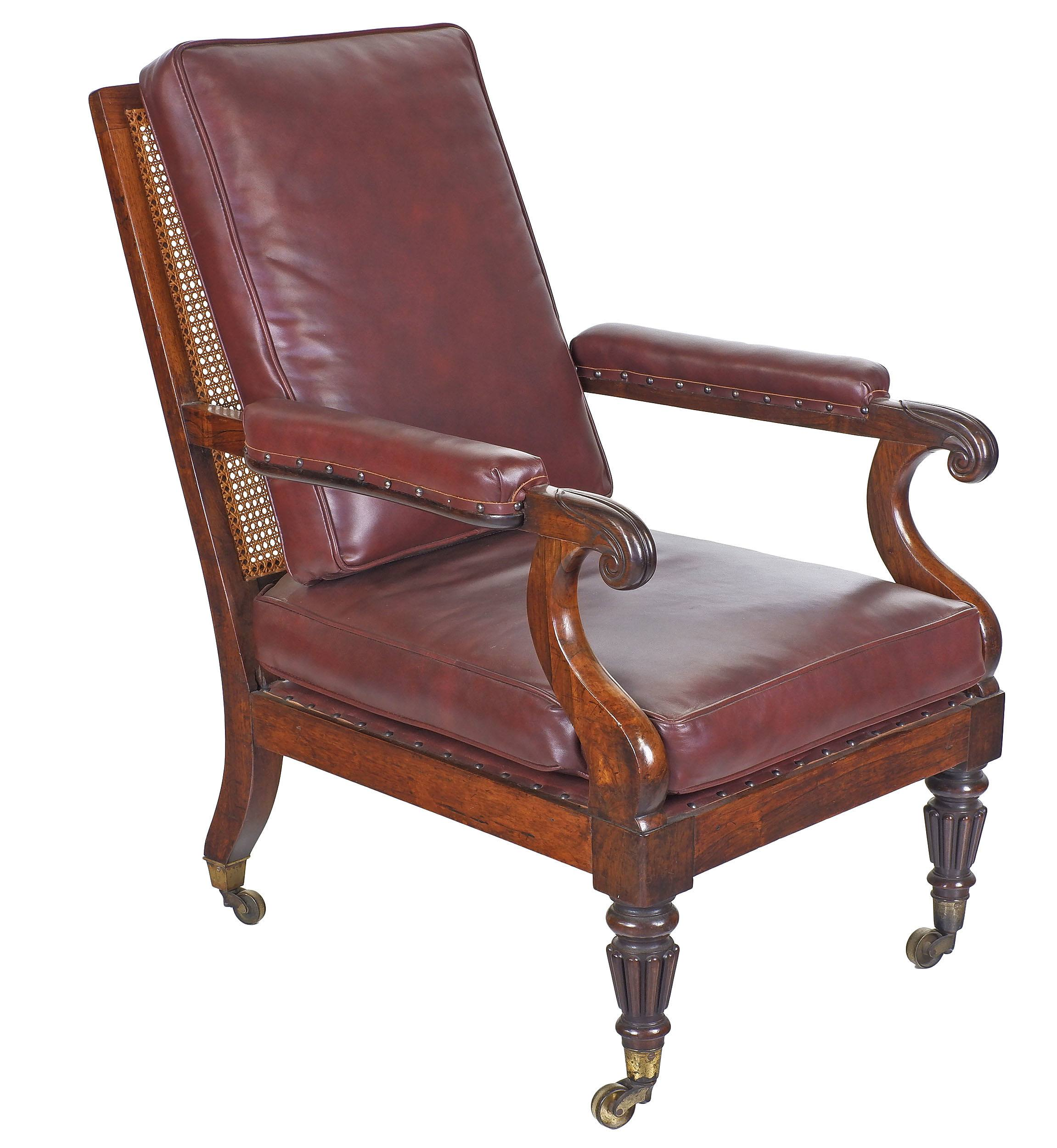 'Good William IV Brazilian Rosewood Bergere Library Chair with Caned Back and Loose Leather Upholstered Cushions Circa 1835'