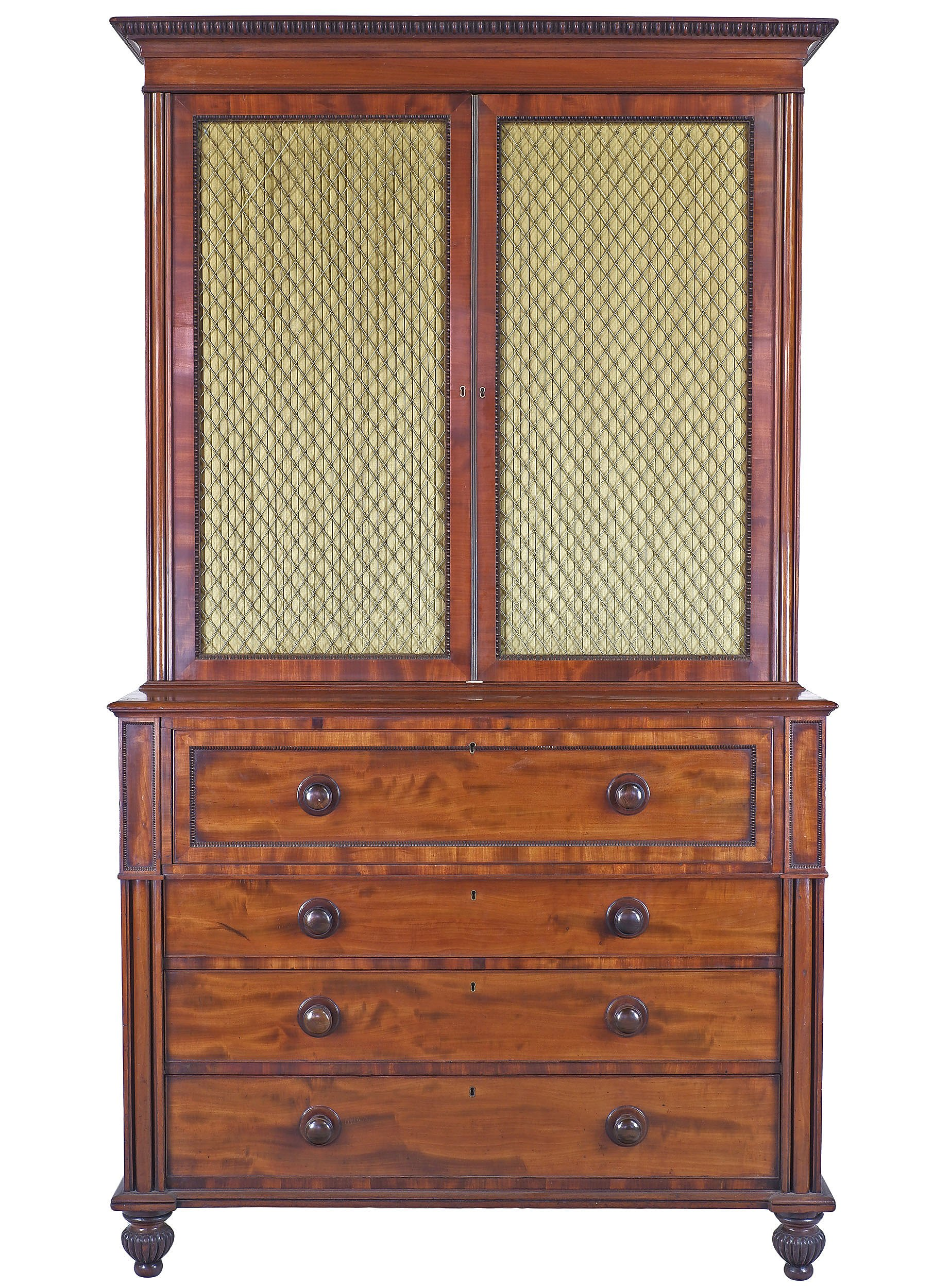'Superior Quality George IV Mahogany Secretaire Bookcase with Pleated Curtains and Brass Grill Circa 1830'