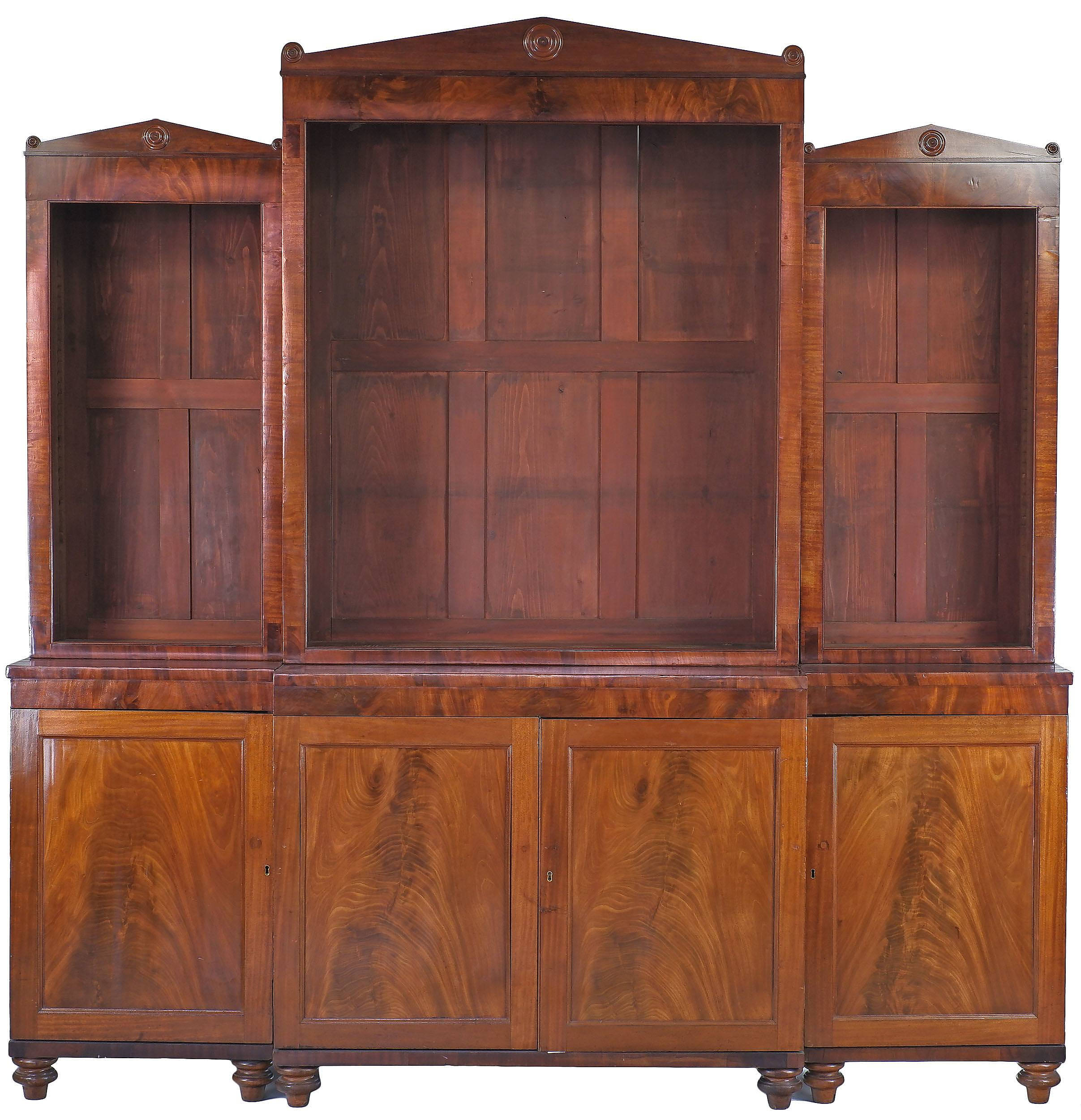 'Regency Style Open Breakfront Mahogany Bookcase With Grecian Revival Pediment 20th Century'
