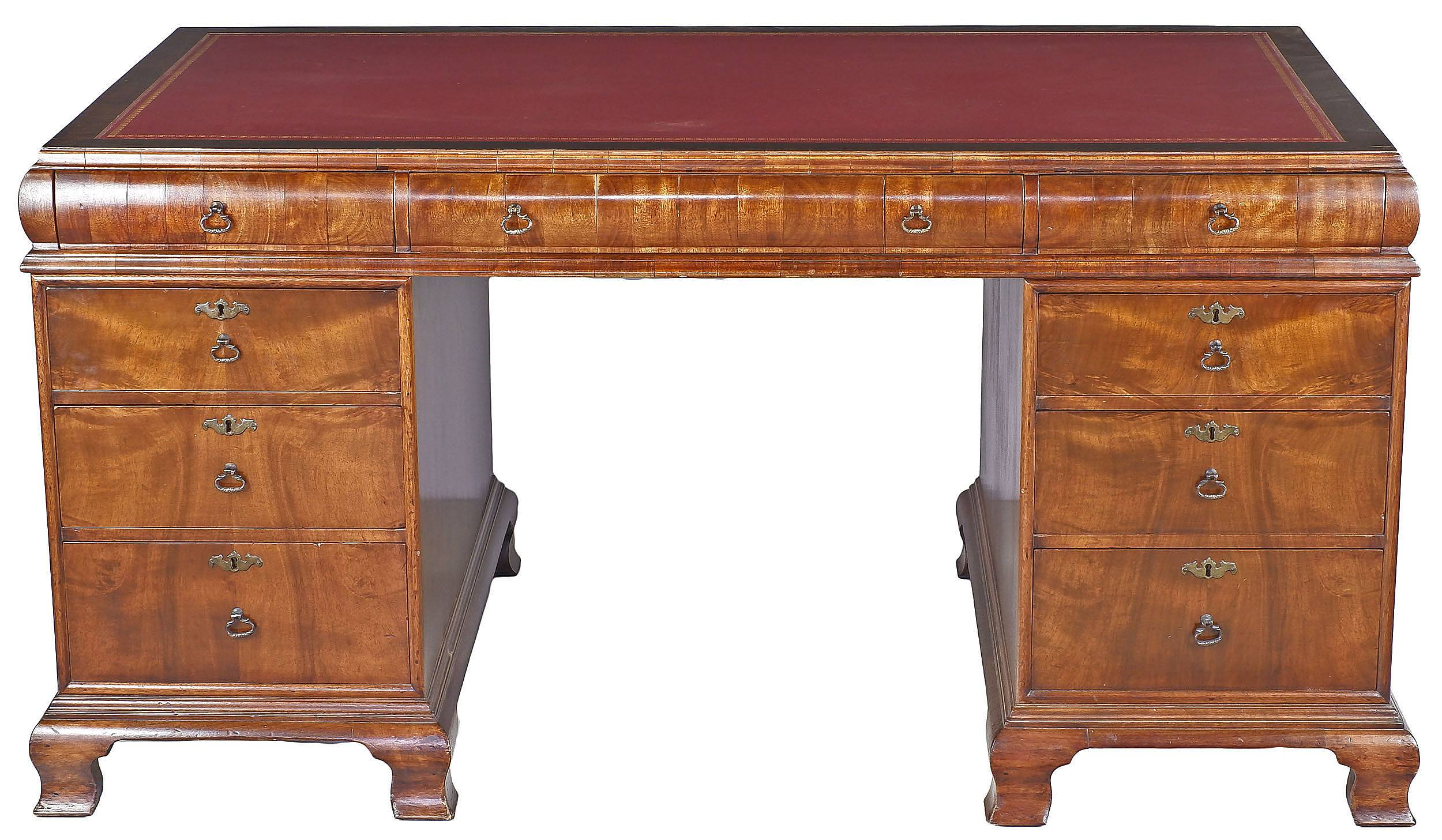 'Queensland Maple and Qld Walnut Pedestal Desk Made by the Infamous Francis de Groot Sydney Circa 1930'