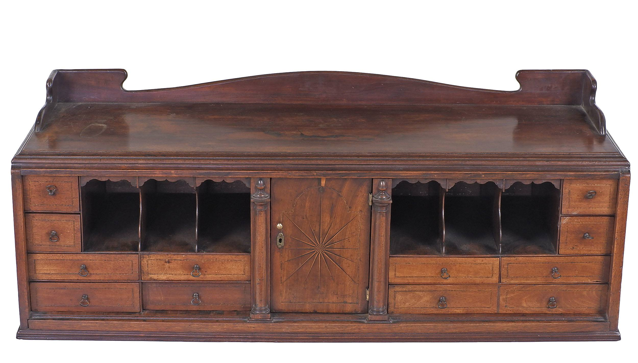'George II Secretaire Internal Compartment with Ebony and Boxwood Starburst and String Inlay, Later Built Into Cabinet'