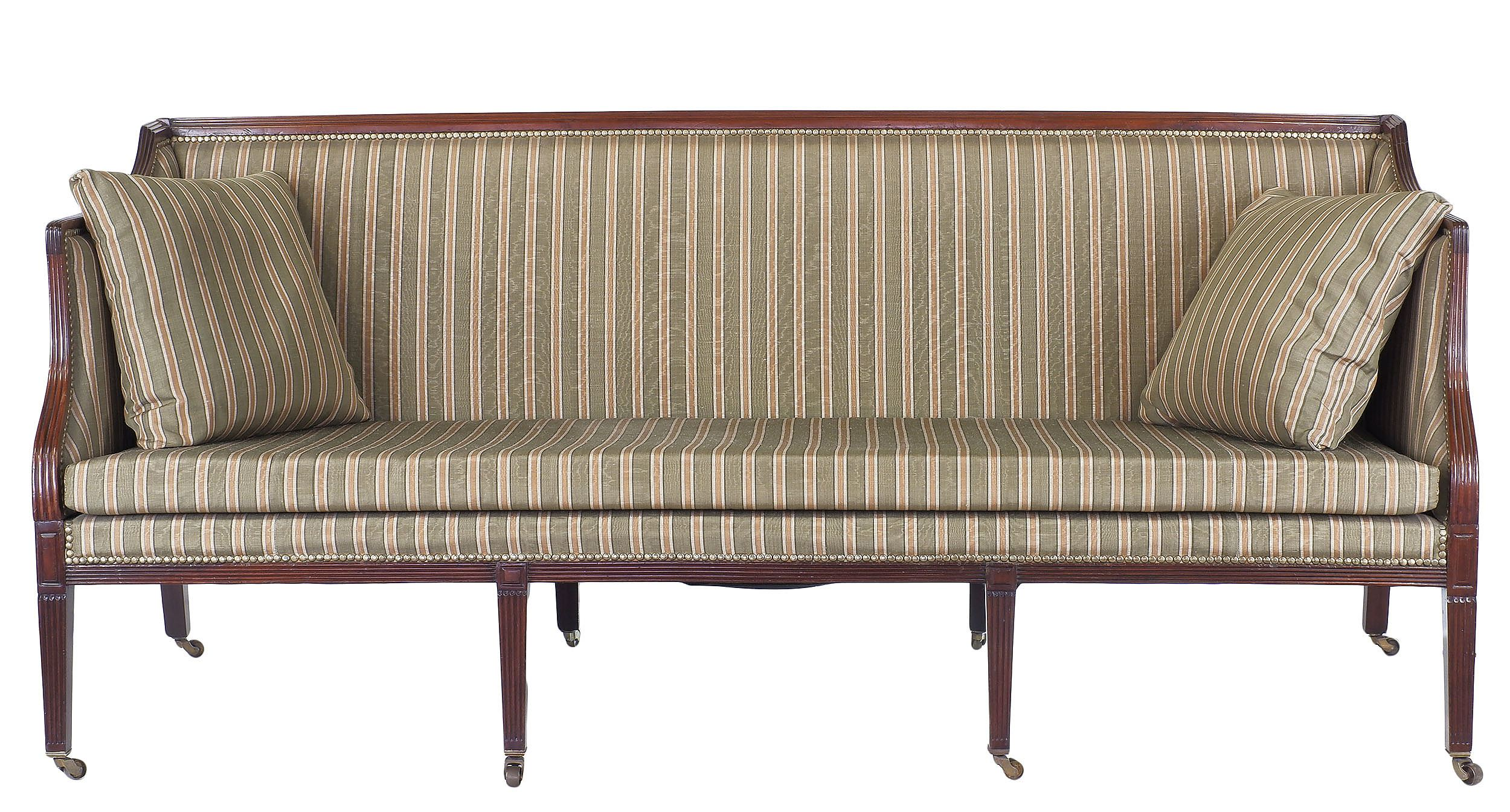 'George III Upholstered Square Back Settee of Hepplewhite Design Circa 1800'