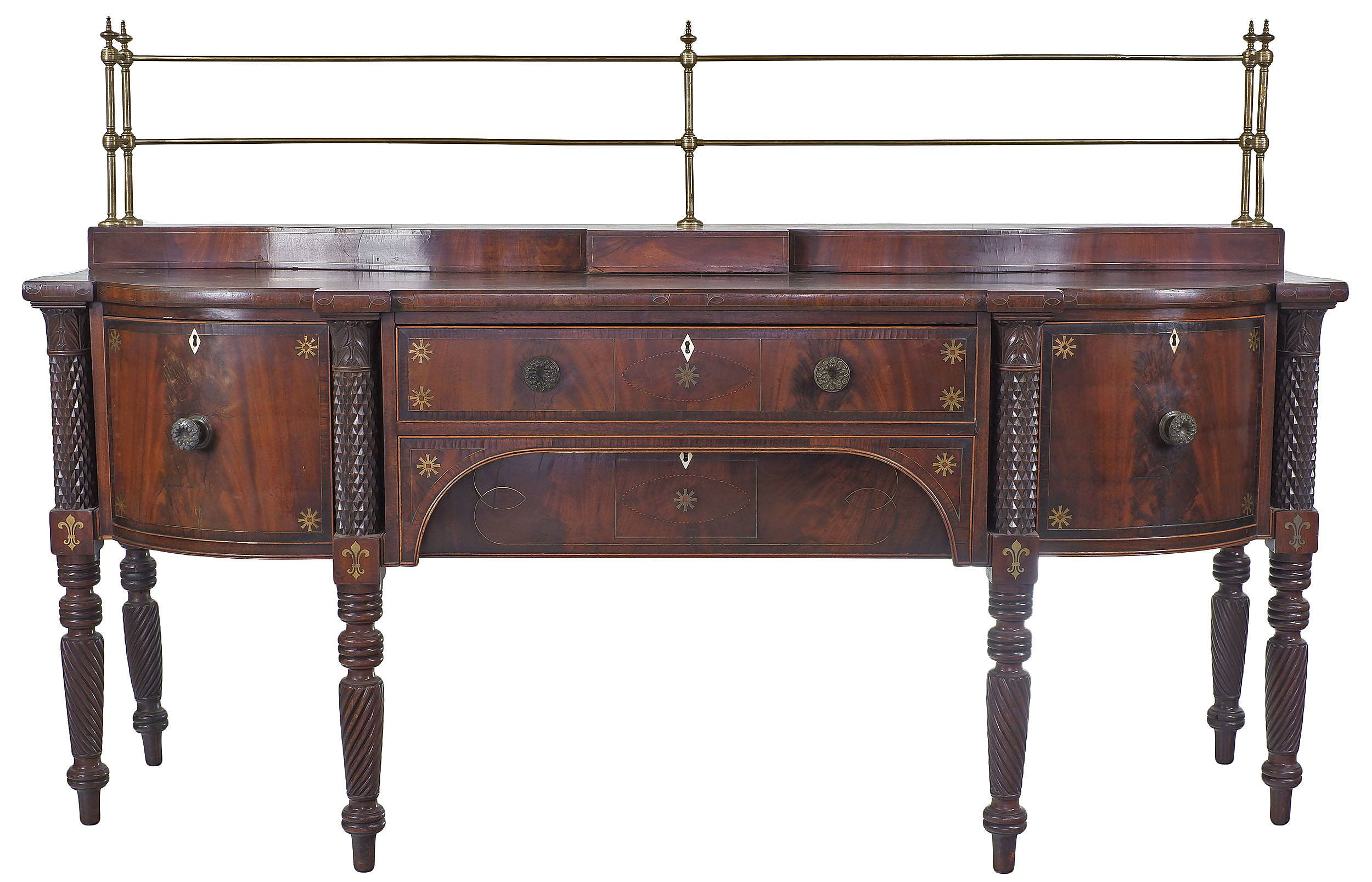 'Substantial George IV Brass Inlaid Mahogany Sideboard with Ivory Escutcheons and Ebony Boxwood and Rosewood Banding Circa 1830'