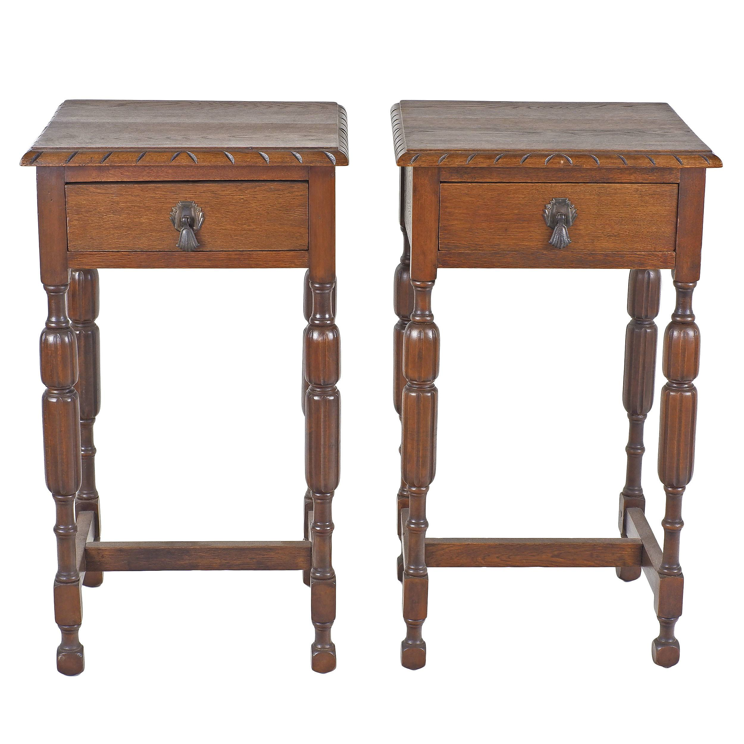 'Pair of Oak Bedside Tables 2nd Quarter 20th Century'