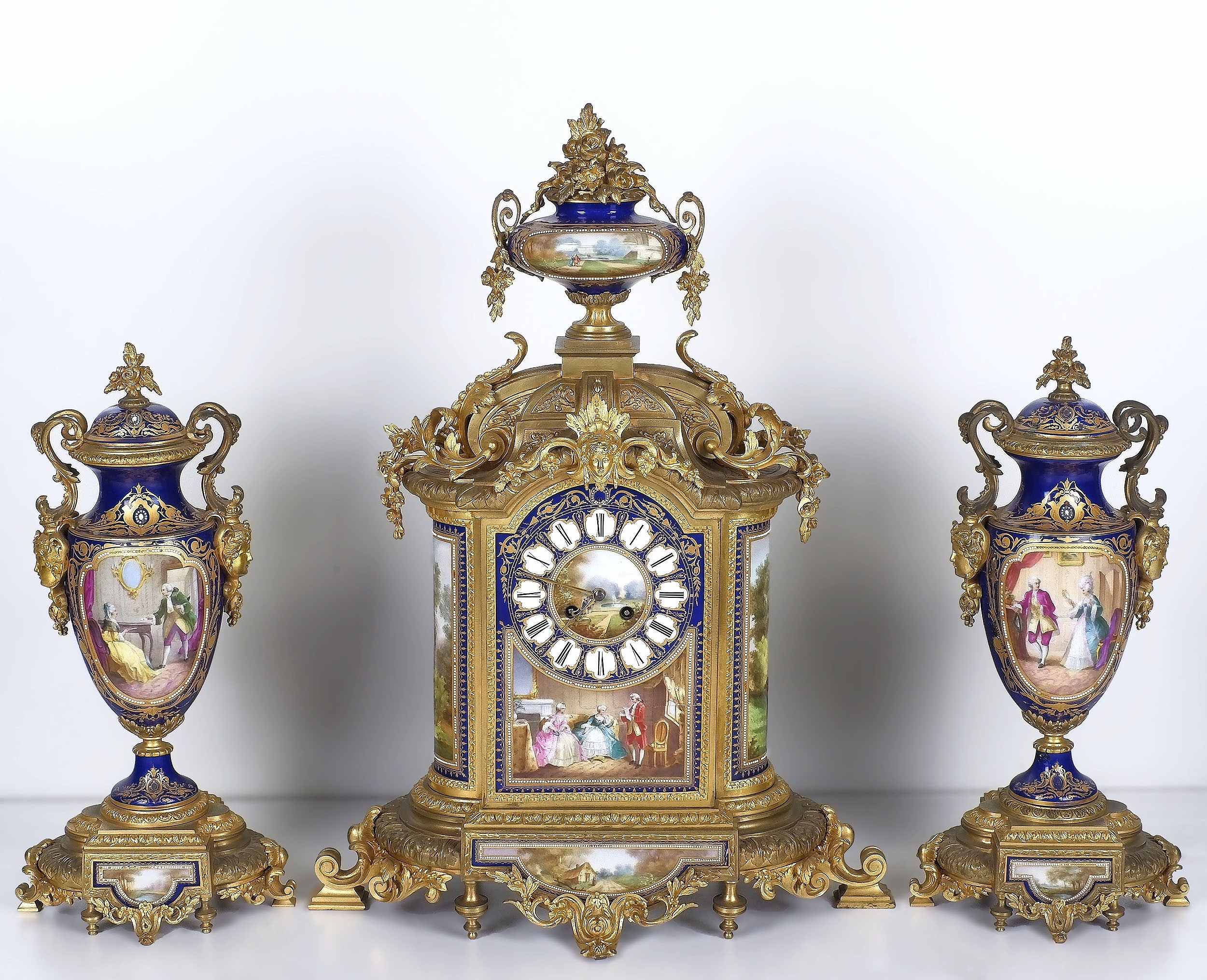 'Impressive French Sevres Style Porcelain and Ormolu Clock Garniture Samuel Marti et Cie Late 19th Century'